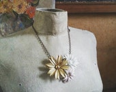 Floral Bib Statement Necklace, Vintage Flower Necklace, Shabby Chic Collage Necklace