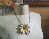 Floral Bib Statement Necklace, Vintage Flower Necklace, Shabby Chic Collage Necklace