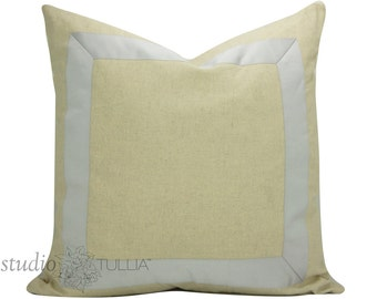 Natural Linen Pillow Cover with Lavender Ribbon - 20 inch - Decorative Pillow Cover - ready to ship