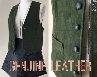 Vintage Genuine Suede Leather 100% Vest Womens