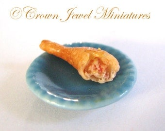 1:12 Baked Turkey Leg on Blue Lunch Plate II by IGMA Artisan Robin Brady-Boxwell - Crown Jewel Miniatures