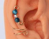 Ear Cuff Gold Filled Earring Genuine Blue Crazy Lace Agate Gemstone and Swarovski AB Crystal