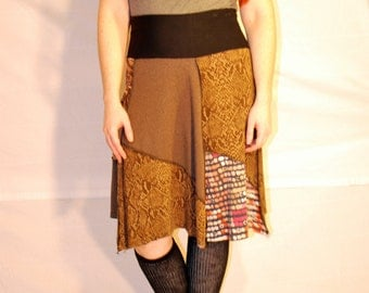 Recycled tee shirt skirt  plus size with yoga pant style waistband P0091