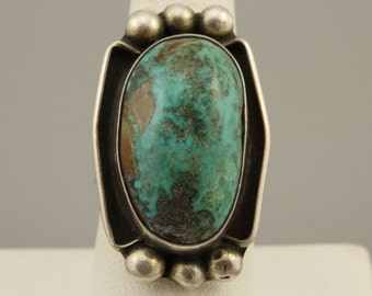 Large Sterling Silver Turquoise Ring Native American Southwestern Fine Jewelry Ring