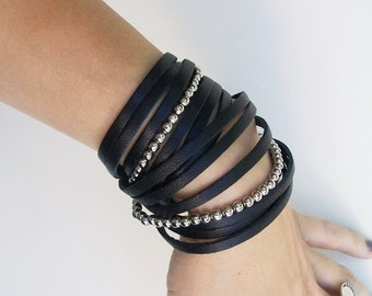 Multi Strand Leather Bracelet,  Black Leather Double Wrap Bracelet, Metal Beads Cuff