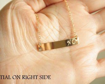Customized Letter Bar necklace , Bar Jewelry, monograms letter, number or leave it blank , options you choose Gold Filled or Sterling Silver