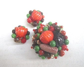 Fall Harvest Pumpkin Brooch & Earrings - Germany Vintage 1960s
