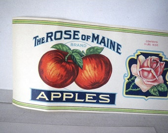 "Rose of Maine Apple Label Fruit Can 20"" x 6"" Farmington Dakin & Ham"