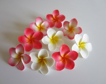 edible sugar plumeria flowers medium variety of colors set of 10