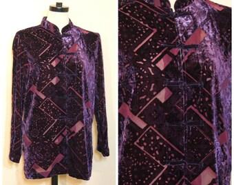 Purple Burnout Velvet Blouse Small Medium Sheer Cardigan 90s Stevie Nicks Boho