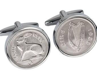 51st Birthday Gift - Lucky 1966 Irish Coin cufflinks -  100% satisfaction guaranty - Presentation box included