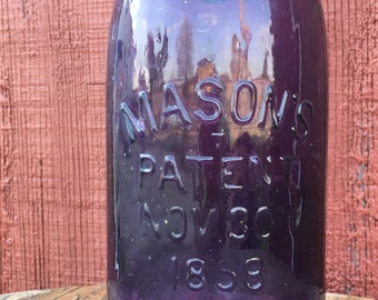 Vintage Royal Purple Mason Jar Mason Patent 1858