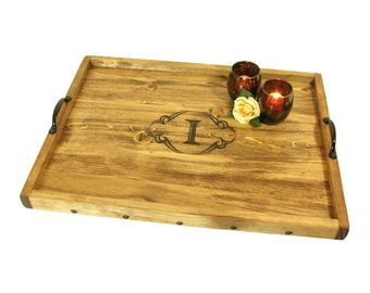 Personalized Gift Ottoman Tray, Engraved Gift Serving Tray, Monogrammed Gift Decorative Tray, Solid Wood Tray with Custom Personalization