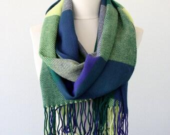 Plaid blanket scarf tartan scarf bohemian wrap fall fashion scarves for women boho chic shawl large plaid scarf green fringed scarf