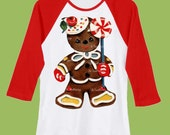 Christmas Gingerbread Man, XMas Cookie, Red Long Sleeves Raglan, baseball shirt, holiday tee, Ginger cookie, by ChiTownBoutique.etsy