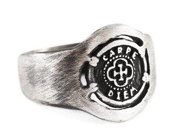 Rustic Silver Ring Man Carpe Diem Oxidized Silver Signet Rings