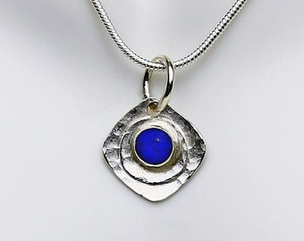 Handcrafted Sterling Silver Lapis Lazuli Square Pendant Necklace Hammer Texture Blue Stone Contemporary Artisan Design Jewelry 4083338831114