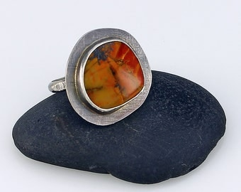 Size 8.25 Handcrafted Sterling Silver and Red Creek Jasper Ring Natural Stone Abstract Design Contemporary Artisan Jewelry 397035125514