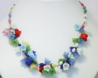 Vintage glass flower necklace. Czech glass necklace