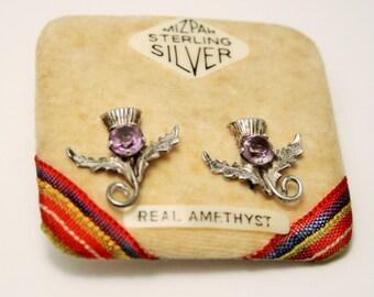 Vintage Scottish thistle earrings.  Sterling silver.  Amethyst earrings. Mizpah.  Screw back earrings.