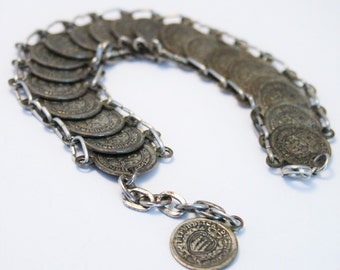 Vintage coin bracelet. Souvenir of San Marino. Italy.  Vintage jewellery