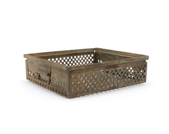 vintage industrial metal perforated bin - no. 2