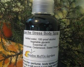 Ease the Stress, Anxiety Body Spray, Frankincense, Cedarwood, Sweet Orange