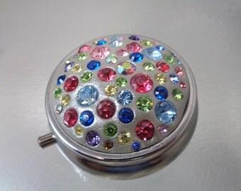 Swarovski Crystal Tri Partitioned Silver Pill Box