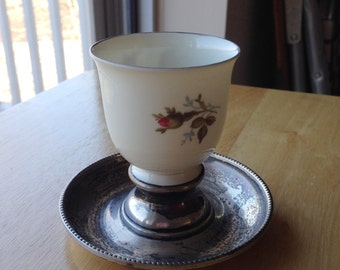 Rosenthal Selb Porcelain Cigarette Cup with Silver Plate Underplate, Moss Rose Pattern, Vintage