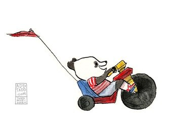 Li'l Big Wheel -- Panda Kid Bike -- Digital Watercolor Print -- Fun Family Art