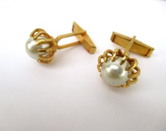 Vintage Perl Cufflinks Goldtone Cufflinks Perl
