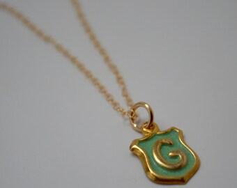 Vintage G necklace, G necklace, Vintage Initial Necklace, Mint Green Necklace, Green Necklace, Gold initial necklace, Grace