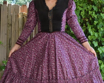 Vintage Gunne Sax Velvet Midi Calico Corset Dress