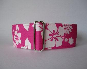 Pink Martingale Collar, Hawaiian Martingale Collar, Wide Dog Collar, Hawaiian Dog Collar, Greyhound Collar, Huggable Hound, Wide Dog Collar