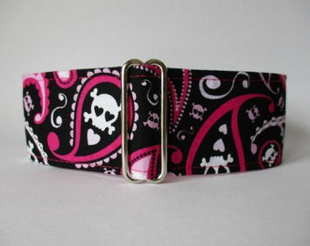 2 Inch Martingale Collar, Pink Martingale Collar, Paisley Martingale Collar, Paisley Dog Collar, Skulls Dog Collar, Whippet Collar