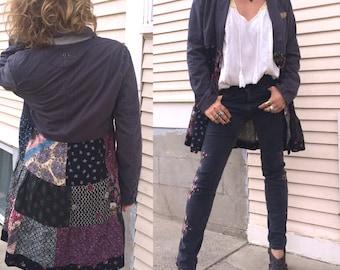 Patchwork Jacket, Size S/M,festival jacket, patchwork blazer, eco jacket, upcycled jacket, hippy coat, charcoal pinstripe  jacket,  Zasra