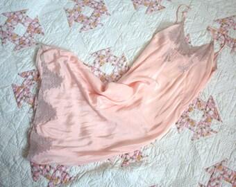 Vintage 1930's Dress Slip // 30s Ballet Blush Pink Bias Cut Silk and Ecru Lace Neglige Lingerie Nightgown Slip // DIVINE