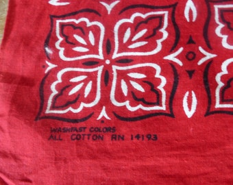 Vintage Red  Bandana Scarf /Washfast colors All Cotton-RN 14193 A