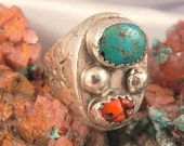 Huge Heavy Turquoise Coral Man's Ring