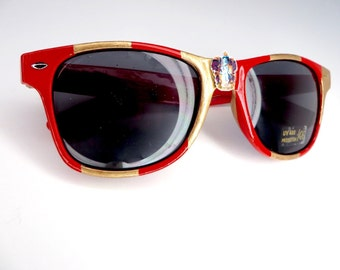 Gryffindor- Dark Red and Golden Yellow Striped Gryffindor Inspired Wayfarer Sunglasses