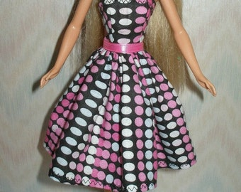 "Handmade 11.5"" fashion doll clothes  - black and pink dress"