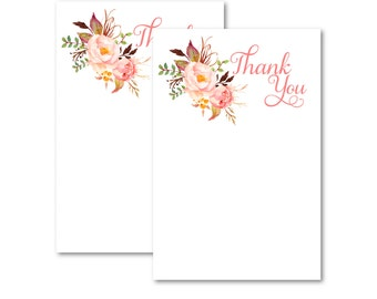 Printable Floral Thank You Card, Thank you Note,  Printable Thank you note, Digital, Instant Download 0558