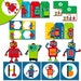Printable Robot Party Set  - Birthday Banner,  Cupcake Toppers, Hats and more. Instant Download - Set 2 1120
