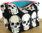 ZIPPER POUCH - Purse Insert - Small Pouch Bag - Zippered Pouch - Cosmetic Bag - Purse Organizer - Make Up Bag - Travel Pouch - Skull Pouch