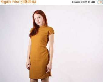 ON SALE 65% ends May 1st 1960s Mustard Cheongsam Dress  - Vintage Chinese Dress  - The Harvest Moon Dress  - 5105