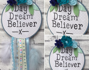 Day Dream Believer Dreamcatcher Wall Plaque Embroidery Hoop. Wall Art, Nursery Plaque, Flora Felting, Stamping