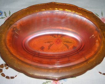 Antique Vintage Federal Glass Amber Oval Vegetable Serving Bowl Normandie Pattern Circa 1930