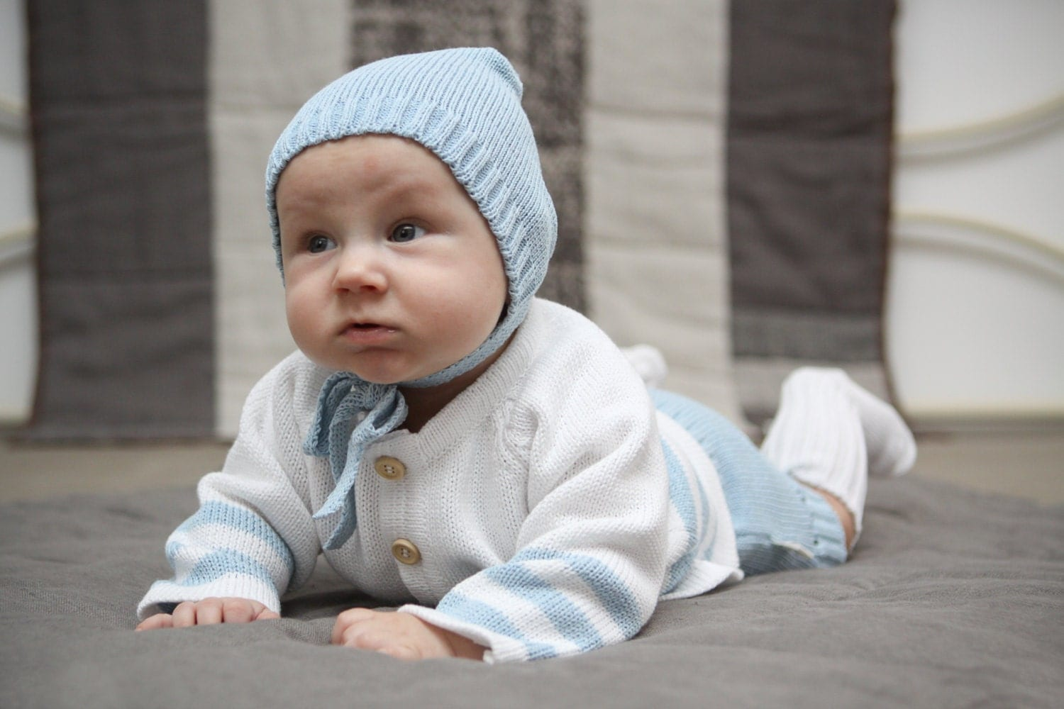Newborn Baby Boy Coming Home Outfit Knit Set Of 4 By