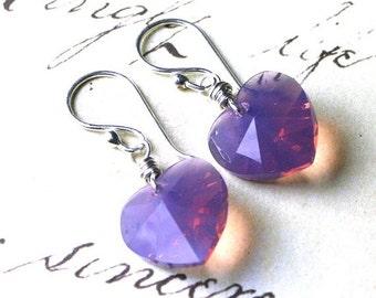 ON SALE Purple Opal Wire Wrapped Crystal Heart Earrings - Cyclamen Opal - Handmade with Sterling Silver and Swarovski Crystal