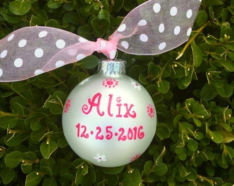 Name Ornament - Custom Personalized Christmas Ornament - Hand Painted Glass Ball, Christmas Bauble, Sports Ornament, Gift Exchange,